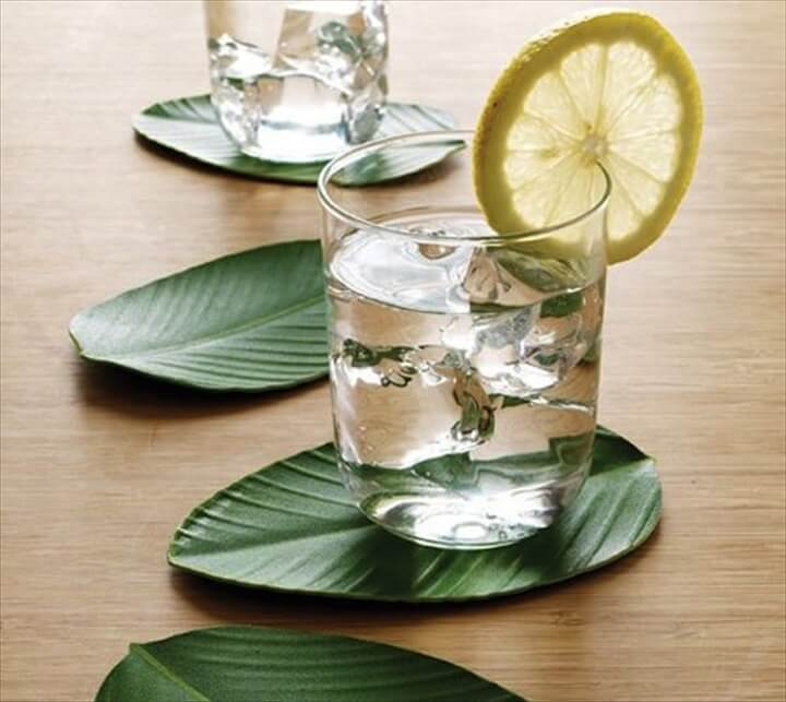 diy leaf coaster