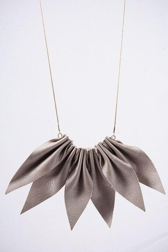 leaf jewelry, leather Accessories, gold field chain