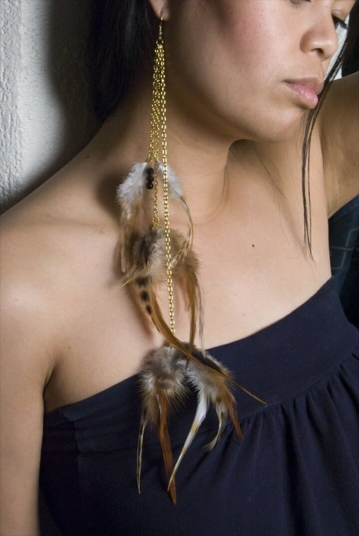 Quick and Easy DIY Feather Earrings