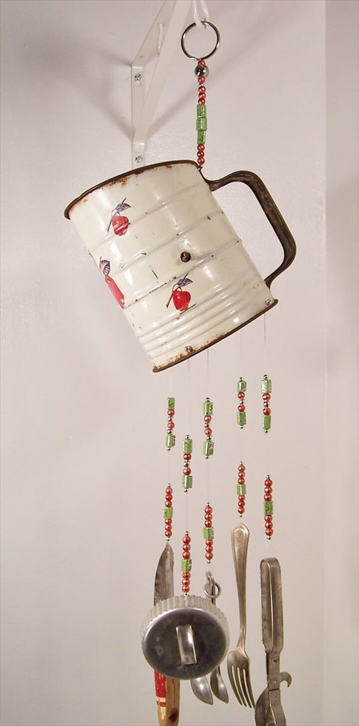 Repurposed vintage kitchen sifter and utensils wind chime,