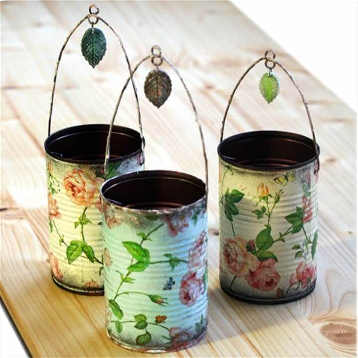 Decoupaged Tin Can Holders: