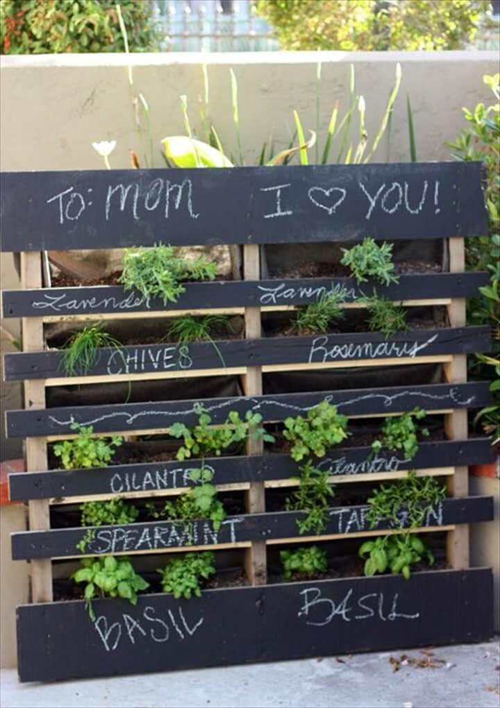 black pallet herb garden
