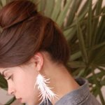 Cut Paper Feather Earrings
