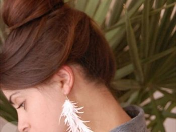 Cut Paper Feather Earrings