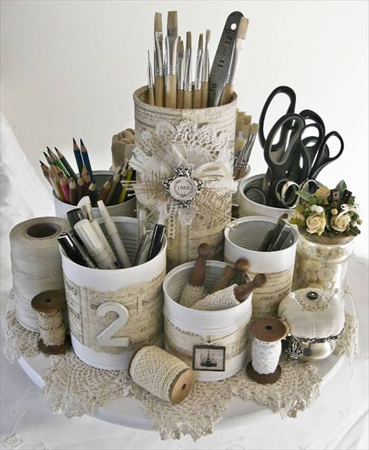 Shabby Chic Tin Can Caddy | Shabby Chic Inspired