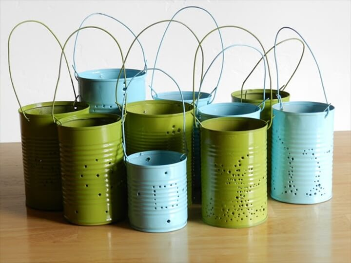 two colors tin can lanterns