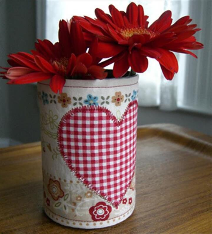 Tin Can Heart Flower Vase: