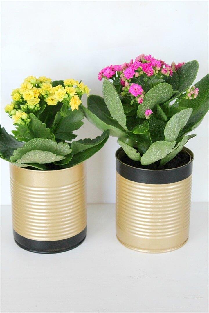 tincan centerpiece planters