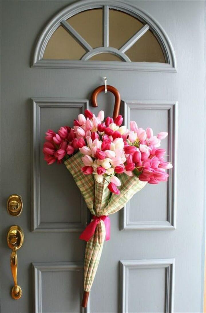 DIY Flower Arrangement Using Umbrella