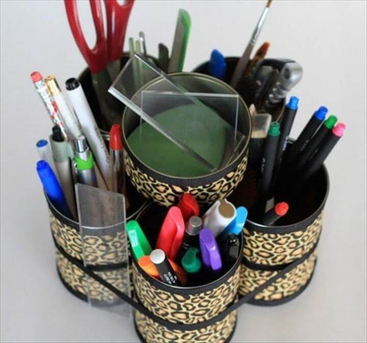 DIY: Tin Cans Makeup Tool Caddy
