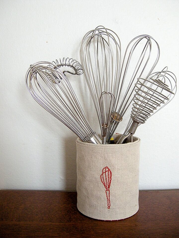 Cute Kitchen Container - embroider a piece of linen with a kitchen utensil motif, cover the outside of a can