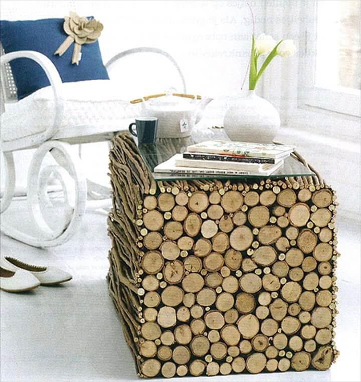 wood branches table
