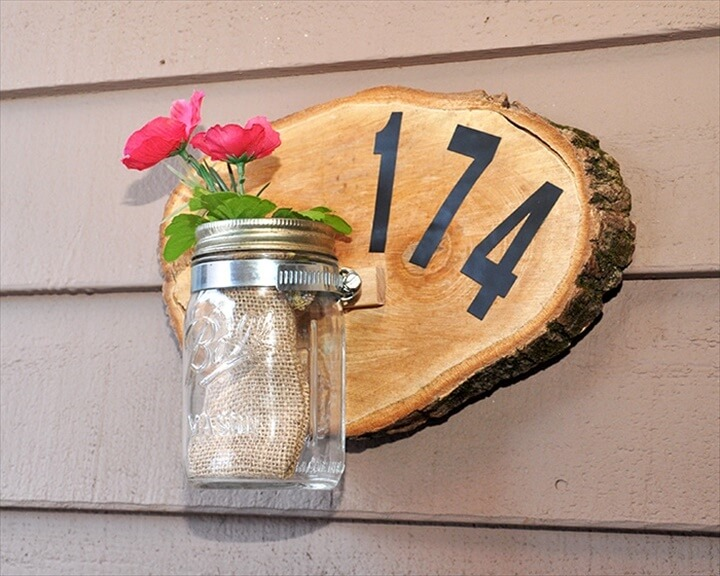 wooden sign and mason jar organization