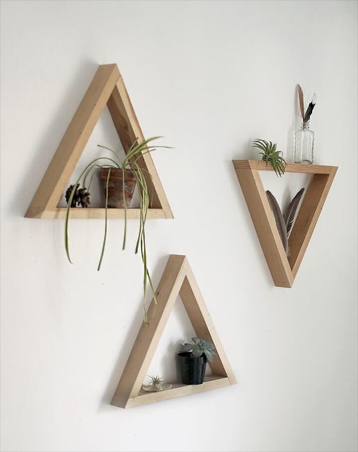 Simple Wooden Triangle Shelves