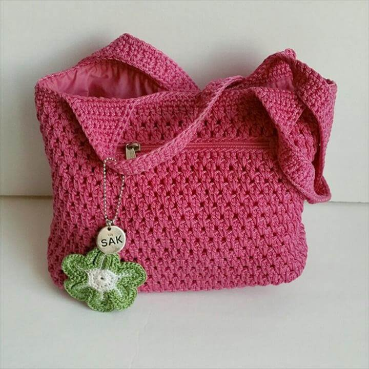 Sak cheery pink flower crochet knit tote bag