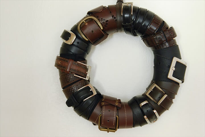 Upcycled Belt Wreath
