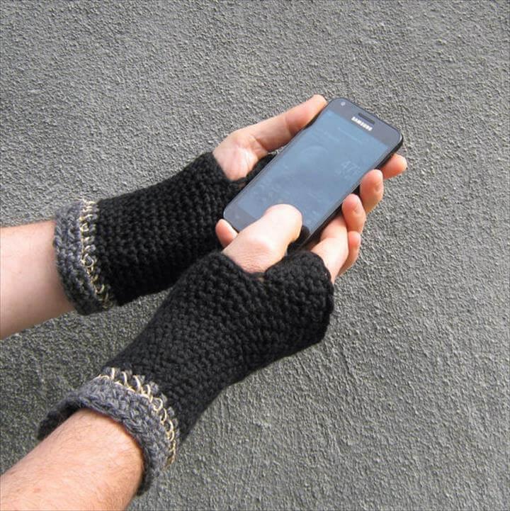 crochet fingerless gloves/ black wool n' hemp men's