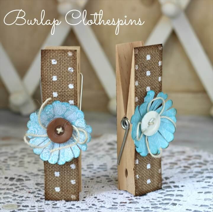 homemade burlap clothespins
