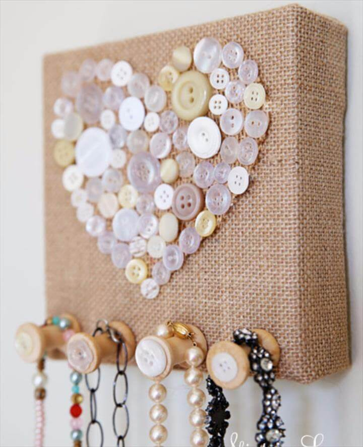 Burlap And Vintage Button Jewelry Holder -