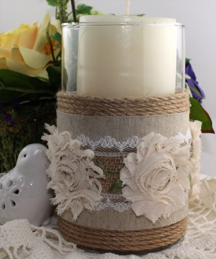 Budget Friendly Centerpieces - Burlap Candle Holders