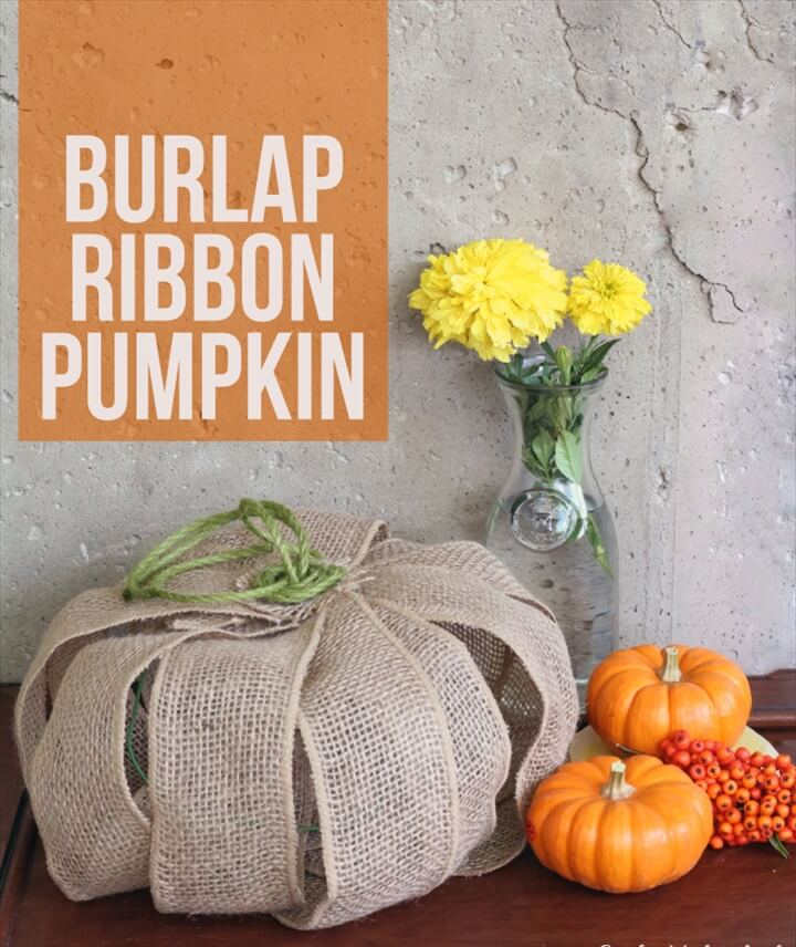 Supplies needed to make your own burlap DIY pumpkin decor: