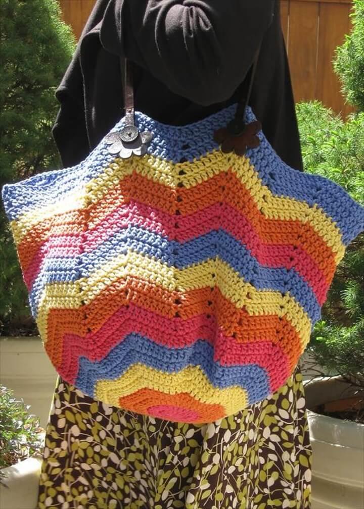 Chevron Crochet Tote Bag