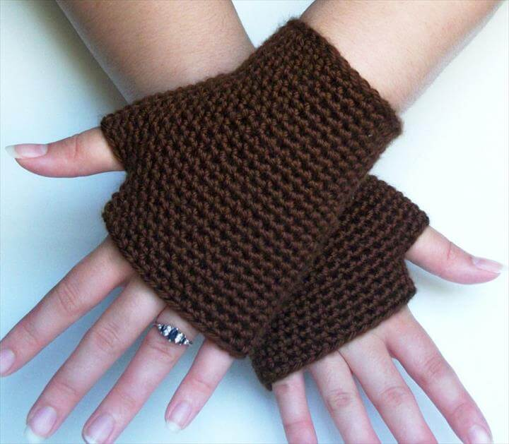 Chocolate Brown Fingerless Gloves Spring Autumn Winter Accesories
