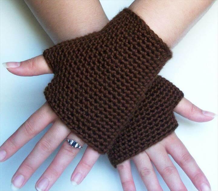 Chocolate Brown Fingerless Gloves Spring Autumn Winter Accesories