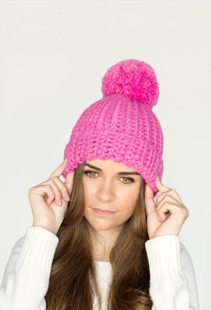 Pink Pompom Crochet Beanie Hat