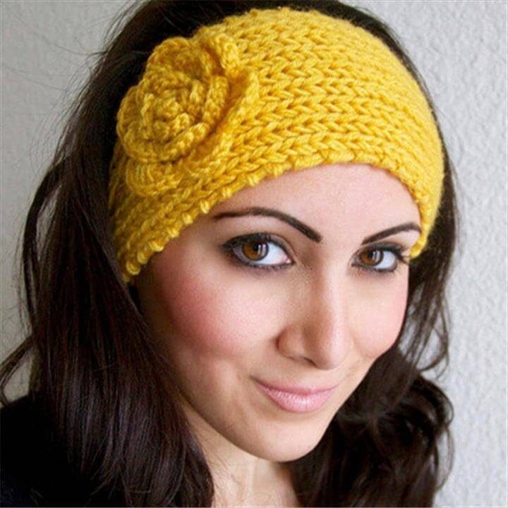 Yellow flower crochet headband