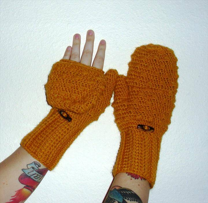 Convertible Crochet Fingerless Glove Mittens In Mustard Yellow Wool Blend Yarn