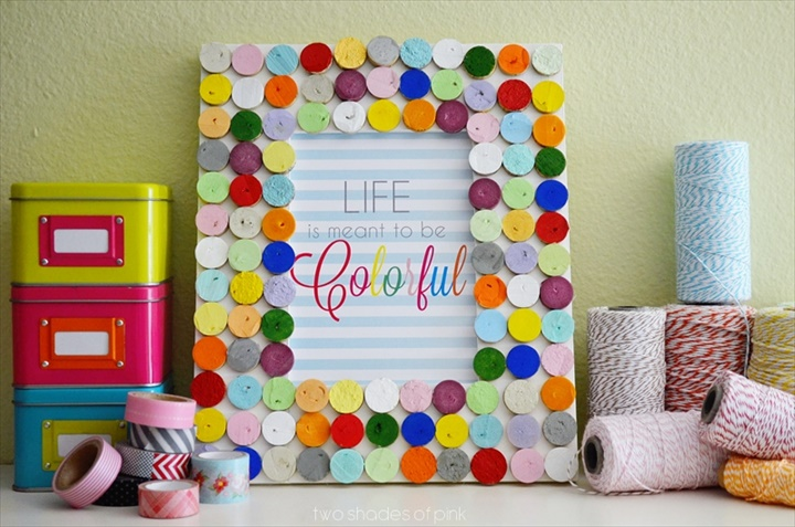 Two Shades of Pink: All You Magazine: Confetti Cork Frame DIY