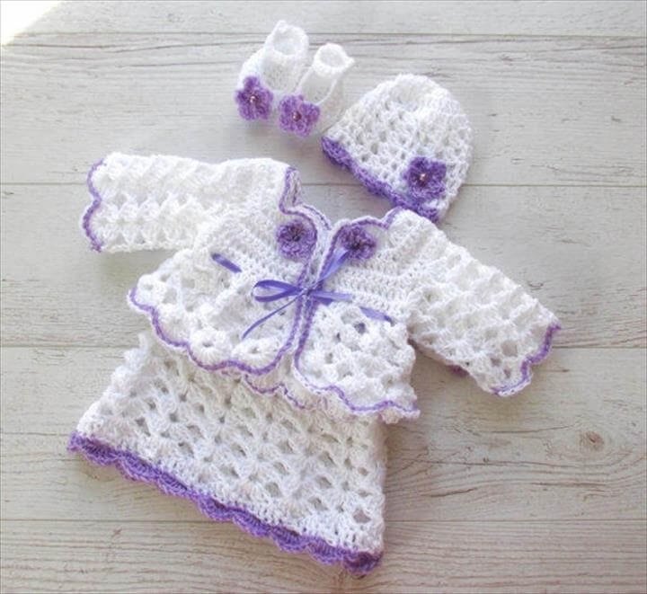 crochet baby complete dress set