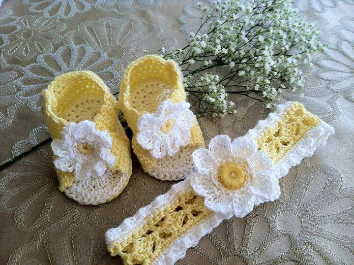 Crochet Baby Girl Sandals with headband