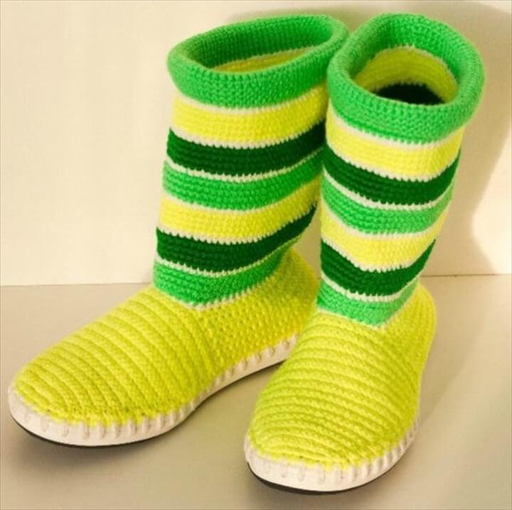 crochet boot slipper