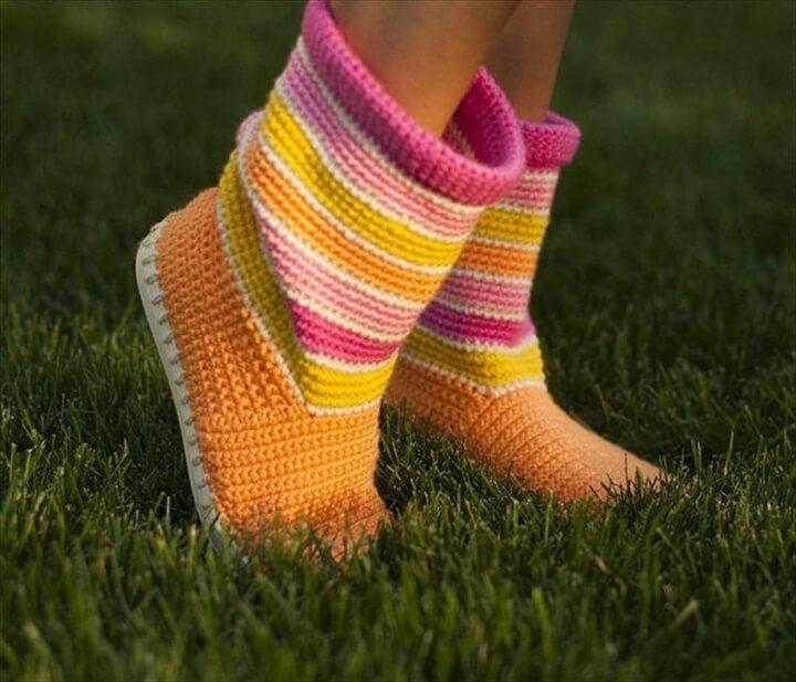 Crochet-Boot-Slippers-