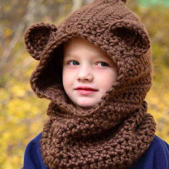 Girl Chunky Hooded Children Wolf Cowl Hoodie Cowl Kids Winter hat Crochet Cowl Hat Kid Crochet Scoodie