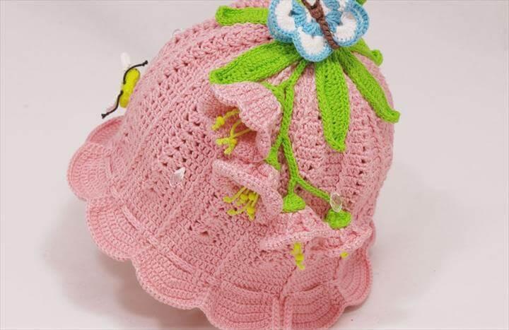 Crochet Bluebell Beanie Hat Free Pattern