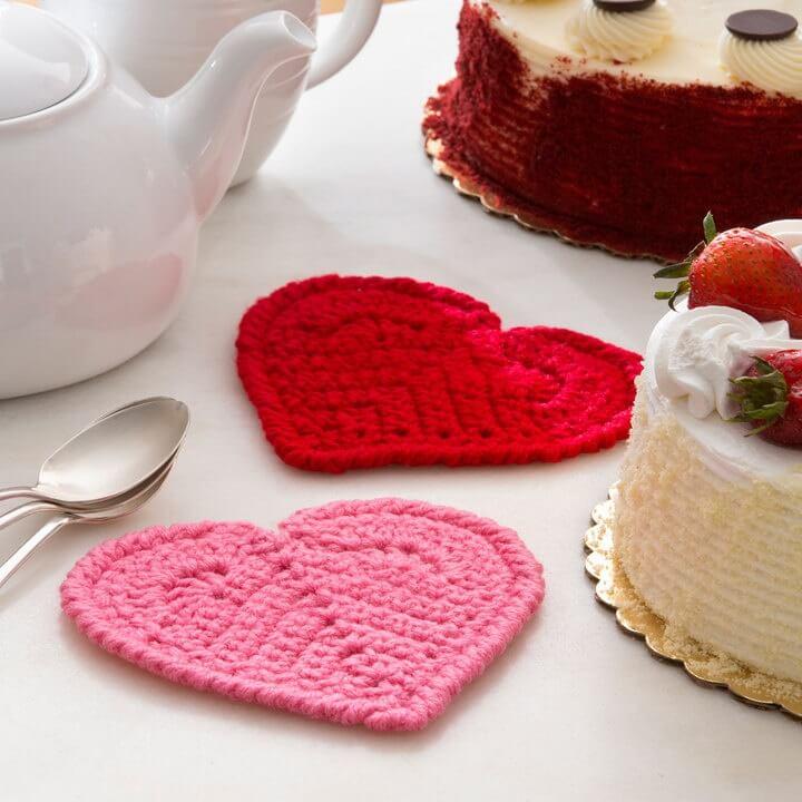 Crochet Heart Coaster