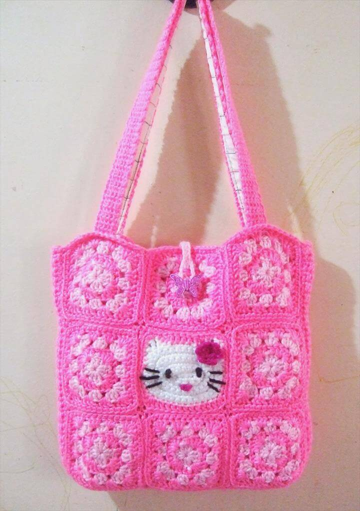 pink kitty crochet bag