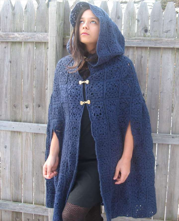 Crochet hooded cape - Long sleeveless coat - Hooded cloak coat