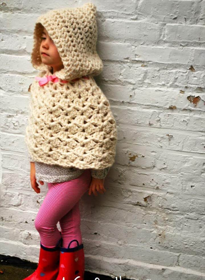 Crochet Hooded Cape Poncho Pattern