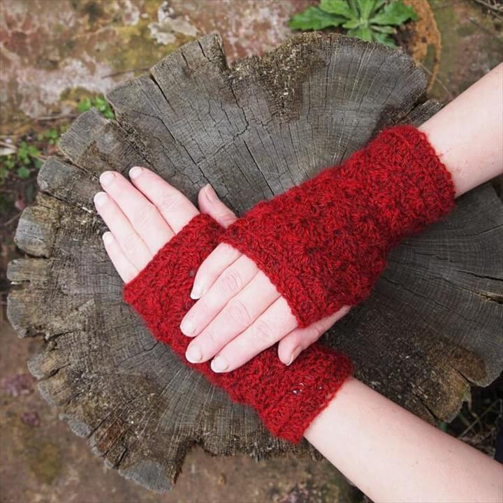Crochet Lacy Shell Fingerless Gloves