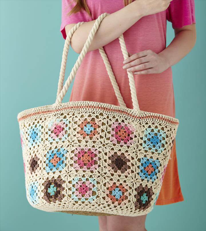 Crochet Pattern granny square market shopper bag