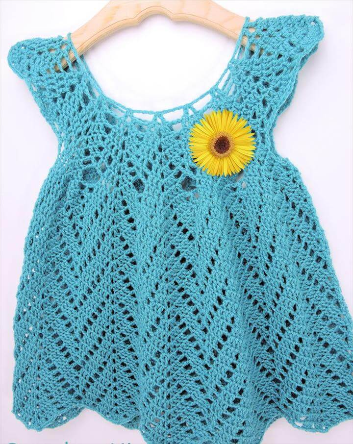 yellow flower crochet dress
