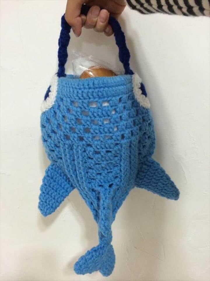 Crochet Whale Shark mini Tote Bag