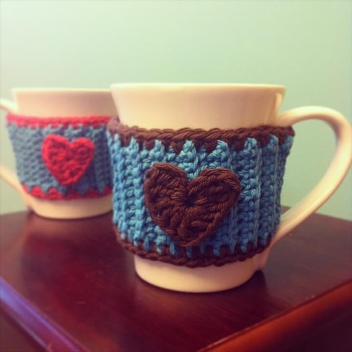 Crochet a Heart Mug Cozy Tutorial from Sew Creative