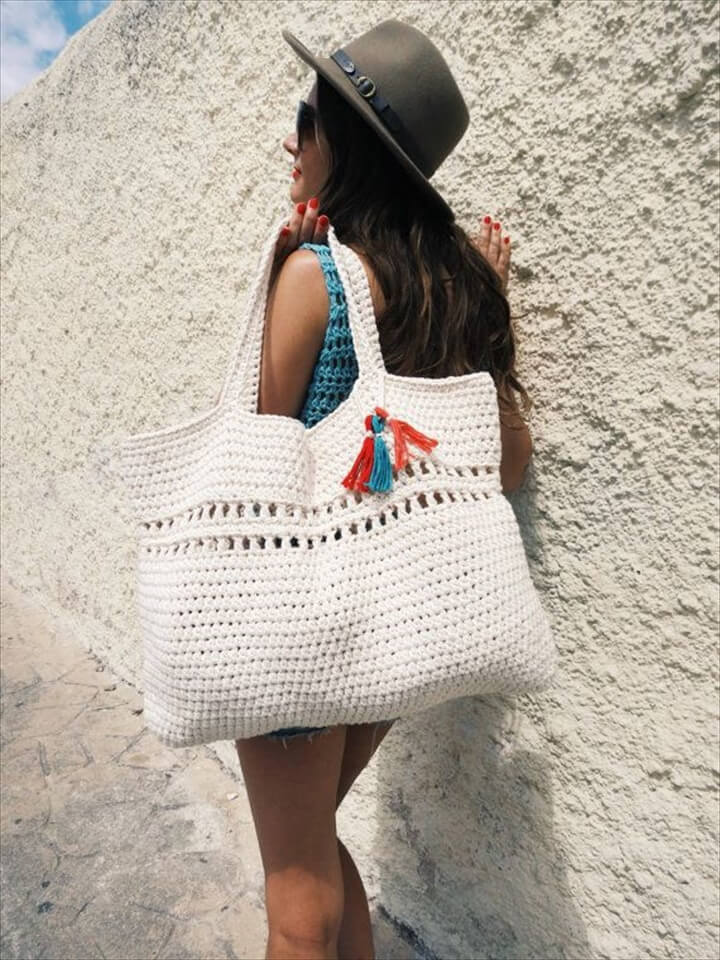 PATTERN for Beach Tote Bag Crochet Large