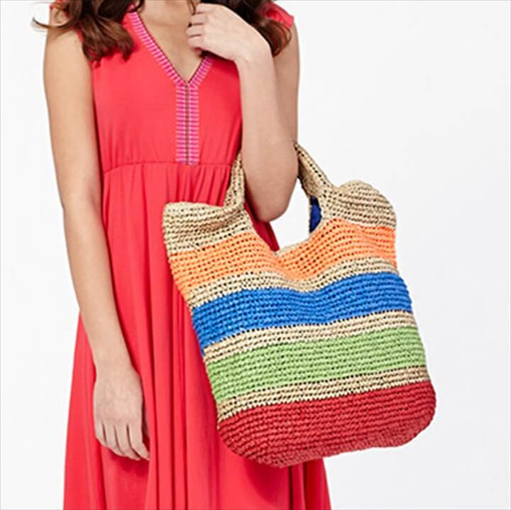 Colorful striped straw straw beach bag for women beach hand crochet straw tote