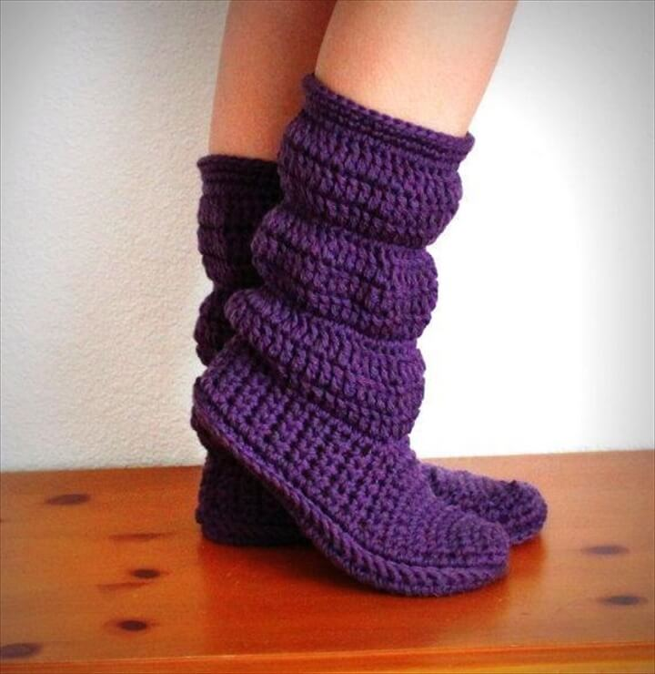 High Knee Crochet Winter Boots:
